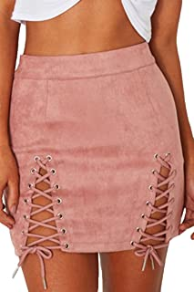 Meyeeka Womens Sexy High Waist Lace up Bodycon Faux Suede...