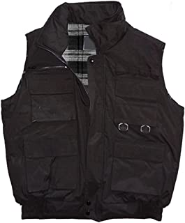 Woodland Supply Co. Men's Tactical Multi Pocket Zip Up Vest,Medium,Black w/Plaid Lining