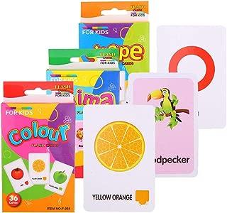 SM SunniMix フラッシュカード 英語カード カードゲーム 教育 形状 動物 カラー 視覚記憶 3セット 約108枚