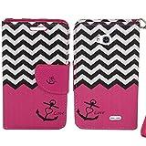 SOGA PU Leather Magnetic Flip Design Wallet Case for LG Ultimate 2 / L41C - Chevron Anchor Love