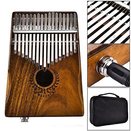 Nicololfle Kalimba 17 Key, Finger Piano Mbira, Kalimba Thumb Piano Akazie - Thumb Piano Link Lautsprecher Elektrischer Tonabnehmer mit Bag Cable