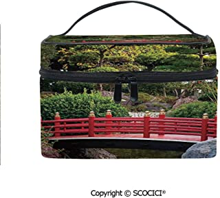 Printed Makeup Bag Organizer toiletry bag Tiny bridge Over Pond Japanese Garden Monte Carlo Monaco Along With Trees and Plants Decorative for Girls Ladies