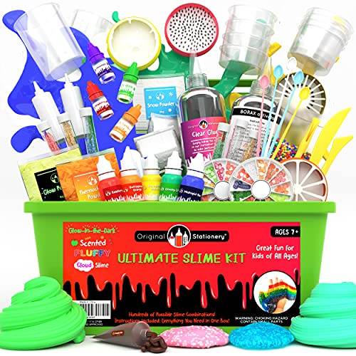 Original Stationery Ultimate Slime Kit DIY Slime Making Kit with Slime Add Ins Stuff for Unicorn, Glitter, Cloud, Butter, Floam, More - Deluxe Slime Kits Gift for Girls and Boys (Green, 55pcs)