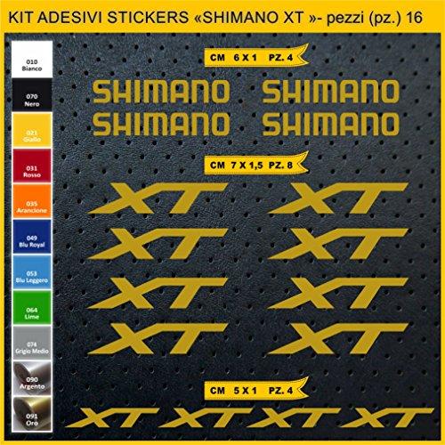 Pimastickerslab Aufkleber Fahrrad SHIMANO XT -Kit Aufkleber Stickers 16 Stück – bici Bike Cycle wählbar Cod.0946 (091 ORO)