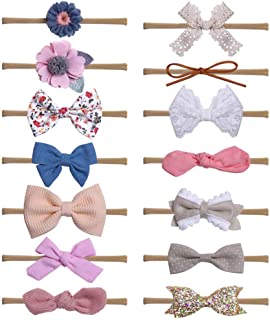 WZT 14 Pcs Baby Girl Headbands and Bows Nylon Elastic, Flower Newborn Infant Toddler Nylon Hairbands Hair Accessories
