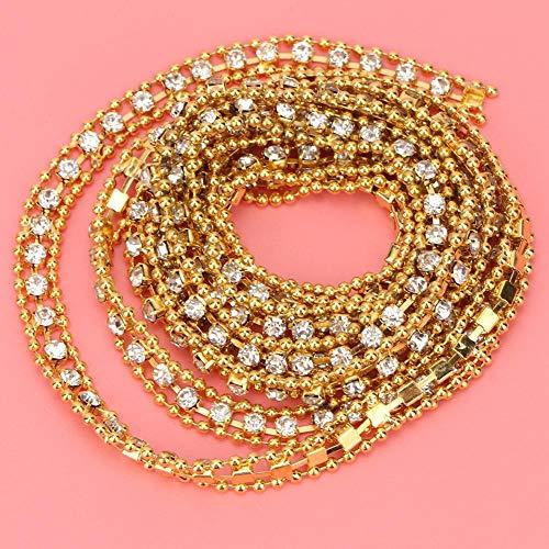 SHYEKYO Cadena de Diamantes de imitación, Cinta de Cristal Duradera, para decoración, decoración de Zapatos, Vestido Formal, Boda para Bricolaje(Gold 10 Yards)