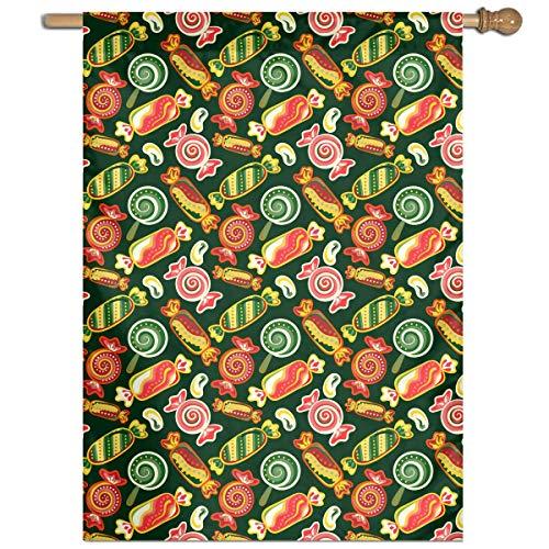 BI HomeDecor Outdoor Seasonal Flag,Bunte Süßigkeit Lutscher-Süßigkeitsbohnen-Hauptflagge, Niedliche Haus-Hof-Flaggen Für Haus-Hinterhof-Rasen,68.6x94cm