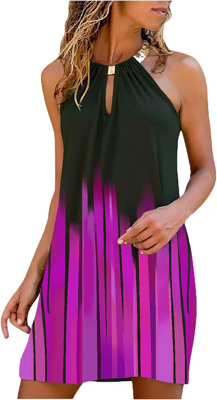 Summer Dresses for Women Metal Neck Sleeveless Popular product Hanging Midi Dre Ranking TOP20
