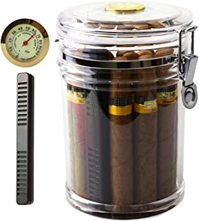 XIFEI Acrylic Humidor Jar with Humidifier and Hygrometer,humidor That can Hold About 18..