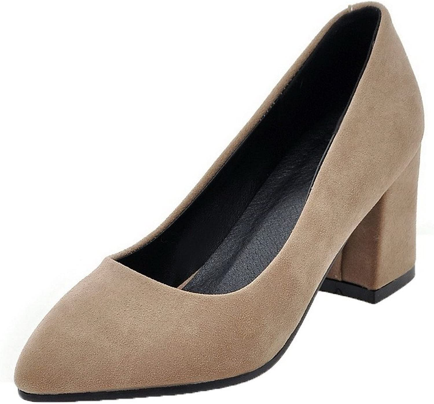 WeenFashion Women's Kitten-Heels Solid Pull-On Frosted Pointed-Toe Pumps-shoes