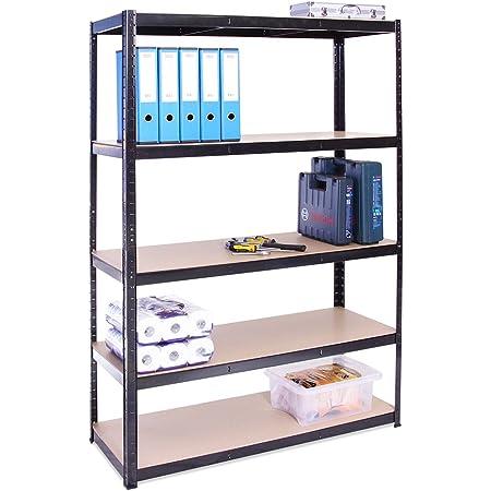 G-Rack (Noir) rangement pour Garage, 180cm x 120cm x 45cm 5 Niveaux, Capacité de 875kg (175kg par Étagère) – très résistant, Charge lourde