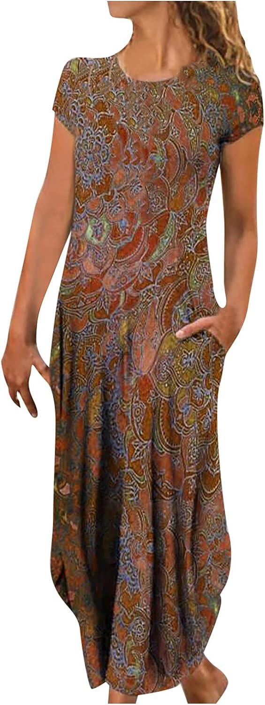 Casual Summer Maxi Floral Dress for Women High Waist Short Sleeve O Neck Long Beach Dress with Pockets