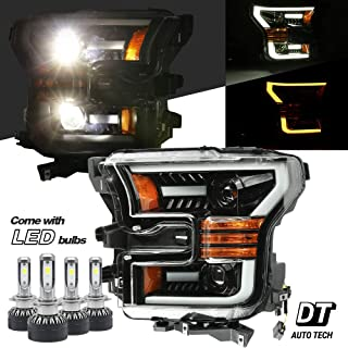 AlphaRex 6000K White LED Projector Headlights Headlamps Assembly Switchback Turn Signal+DRL For 2015-2017 F-150 F150 (Matt black housing with LED switchback sequential turn signal)