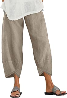 Xiakolaka Linen Capris Pants for Women with Pocket Retro Cropped Haren Pants