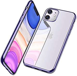 Enflamo Crystal Clear Case Soft Back Cover Case with Electroplated Frame Bumper Ultra Slim TPU Gel Case for iPhone 11 (iPhone 11, 6.1 Inch, Purple)