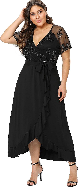 Milumia Plus Size Empire Waist Maxi Dress Ruffle Split Semi Sheer Solid Dresses Black