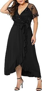 Plus Size Empire Waist Maxi Dress Ruffle Split Semi Sheer Solid Dresses