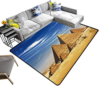 alsohome Contemporary Indoor Area Rugs Egypt Cairo Giza General Pyramids from The Giza plaateau Three Pyramids Known as Queens Carpet for Children Home Decorate 6' X 9'