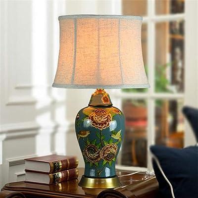 Lámparas de mesa de cerámica - Luces de cabecera en el dormitorio, Luces interiores de lujo premium, Luces contemporáneas de decoración de la sala de estar (03432): Amazon.es: Iluminación
