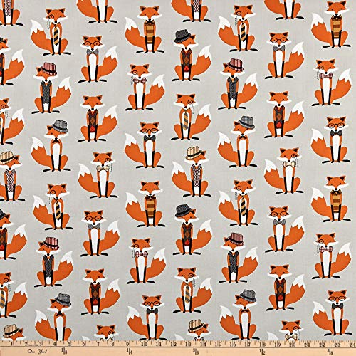 Fox and The Houndstooth Foxes Grey, Quilting Fabric by the Yard