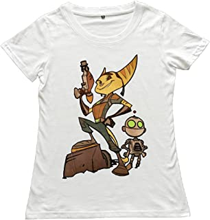 ZZYY Womens Unique Ratchet and Clank Role Short Sleeve Tee Play O-Neck White
