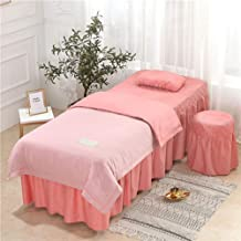 Beauty Salon Bed Skirt,Double Sided Tencel Velvet Bedspread Tuina Physiotherapy SAP Massage Mattress Cover Ruffle Design-F...