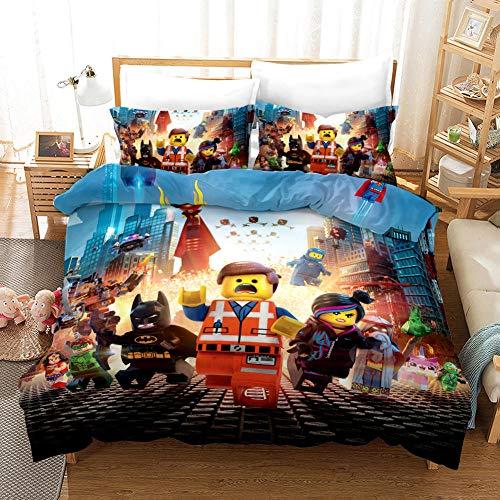 GuoDamei The Lego Movie Juego de Funda de Edredón 200x200 cm Juego de Ropa de Cama 3 Piezas Incluye 1 Funda Nórdica con Cierre de Cremallera y 2 Funda de Almohada 50x75 cm,Suave Transpirable