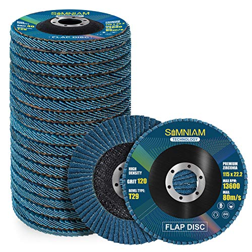 """Simniam 20 Pack Flap Discs 4.5"""" x 7/8"""", High Density T29 Zirconia Grinder Wheel 40/60/80/120 Grits Assorted Cutting Off Wheels Flap Sanding Disc Perfect for DIY Hobbyists"""