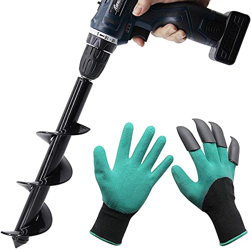 wholesale Twinkle Star Garden Auger Spiral online sale Drill Bit 3 x 12 Inch with Garden Genie Gloves, Plant Bulb new arrival Auger Fits for 3/8 Inch Dill sale
