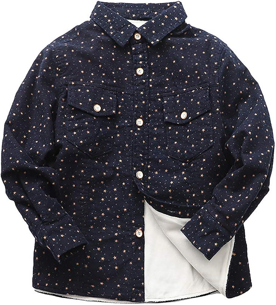Abalacoco Boys Classic Shirt Soft Winter Warm Fleece Liner Cotton Button Down Plaid Top Shirt (5-6 Years, Navy Blue)