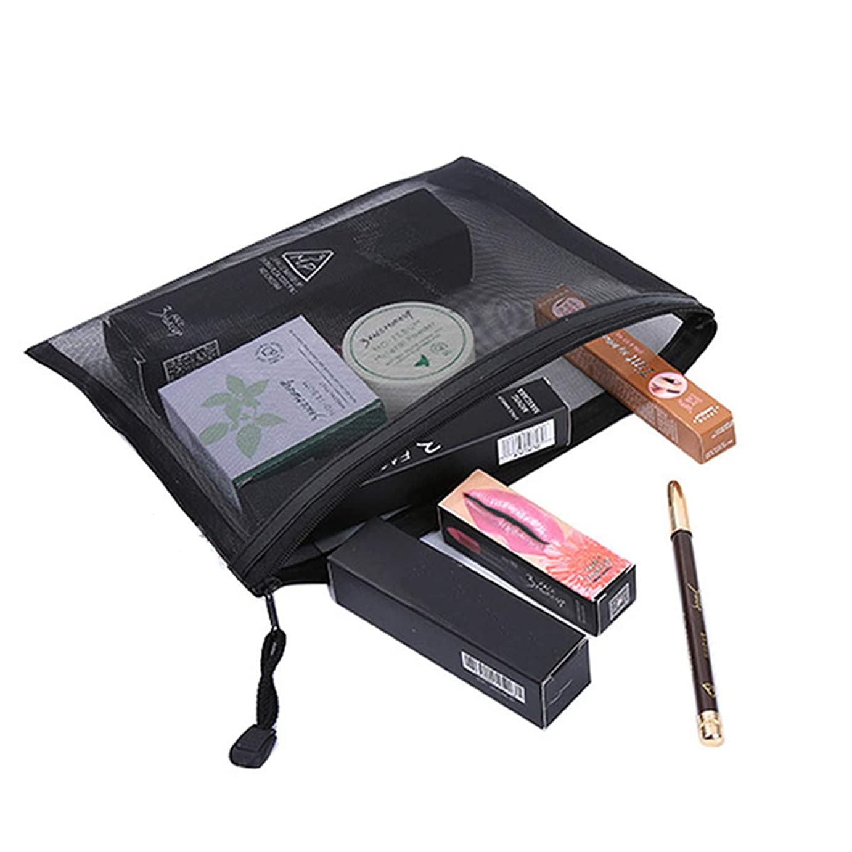 Kingsie トラベルポーチ メッシュ 化粧ポーチ トイレタリーバッグ 洗面用具入れ 旅行出張 黒 軽量 便利 レディース メンズ 2枚セット