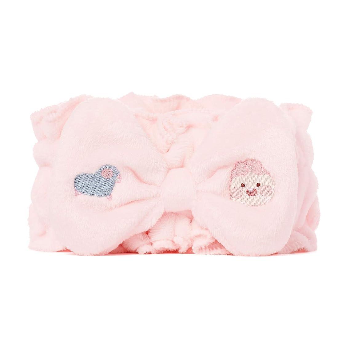 うつ刺繍起きる[オフィシャル] カカオフレンズ - ラブリーアピーチ ふわふわフリルヘッドバンド KAKAO FRIENDS - Frill Headband (Pink)