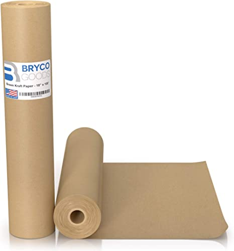 "Brown Kraft Paper Roll - 18"" x 1,200"" (100') Made in The USA - Ideal for Packing, Moving, Gift Wrapping, Postal, Ship..."