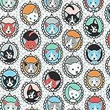 Textiles français Baumwollstoff | Katzen-Porträtgalerie
