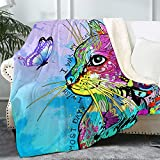 """Bonsai Tree Cat Blanket, Cute Kitten Themed Soft Cozy Sherpa Throw Blanket for Women Cat Lovers, Colorful Teal Kitty Butterfly Thick Crystal Velvet Blanket for Couch Bed Living Room, 50""""x60"""""""