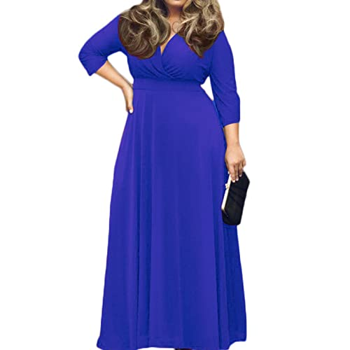 ecdaf6be116 POSESHE Women s Solid V-Neck 3 4 Sleeve Plus Size Evening Party Maxi Dress
