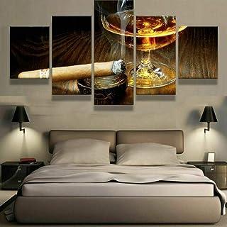 HJIAPO Toile Moderne D'Images Artistiques Numérisées 5 Pièces Boissons Au Whisky Au Cigare Posters Et Arts Décoratifs Tabl...
