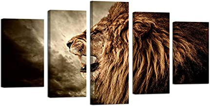 Ardemy Canvas Wall Art Lion Howling Animal Painting 5 Panels Large Size Gallery Wrapped Giclee Prints, Pictures Artwork Ready to Hang for Living Room Mens Bedroom Home Decor and Gifts