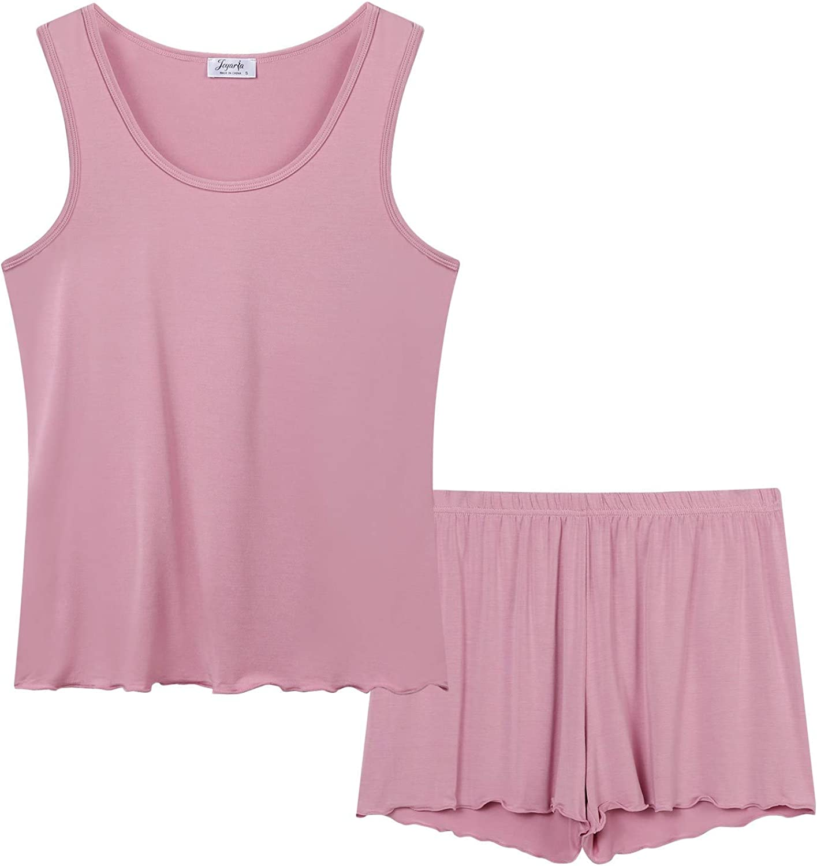 Joyaria Womens Bamboo Tank Top Pajama Sets Cooling Sleepwear with Shorts/Pants