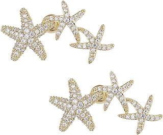 Arjien 14K الذهب مطلي فضة استرلينية بوست كوكبة نجمة مكعب زركونيا الأذن الزاحف | أقراط الذهب مسمار للنساء