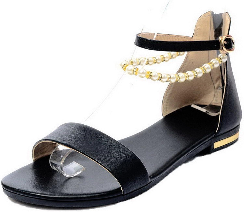 WeiPoot Women's Zipper Low-Heels Pu Solid Open Toe Sandals