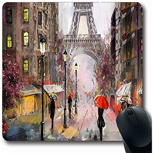 Mousepads op aquarel Canvas Street View Parijs Abstract Frans Frankrijk paraplu Beroemde moderne huis Oblong vorm 18X22Cm anti-slip Gaming Mouse Pad