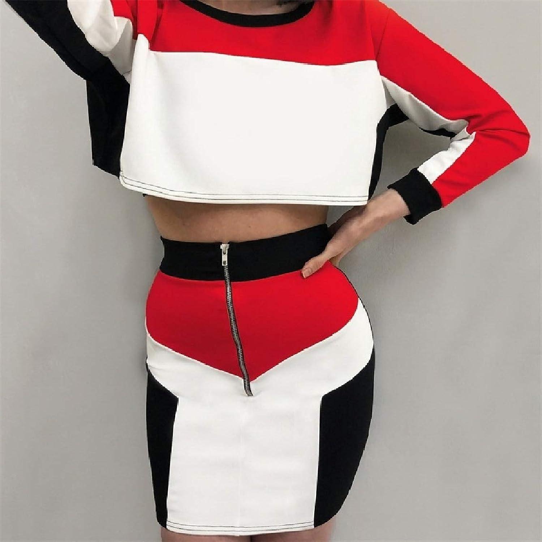 GodeyesW ズボンロングスリーブヴォーグのクラブウェアトップス+スカートセットで女性のヒット色