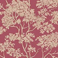 Add a splash of colour and vintage touch to your walls with this beautiful Maple Tree wallpaper from Fine Decor collection. Features a beautiful tree print in gold & beige on a bold, red background. How To Apply: Paste the Wall. Classification: Washa...
