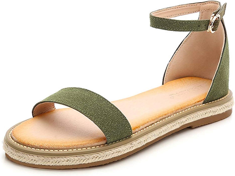 Womens Sandals Trim Rubber Sole Flatform Wedge Buckle Ankle Strap Open Toe Sandals Casual Espadrilles