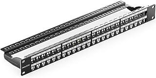 deleyCON 48 Port Panneau de Brassage Modulaire pour Les RJ45 Modules Keystone 1U (1HE) 19 Pouces Le Montage en Rack Compat...