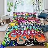 Set di biancheria da letto con motivo graffiti per ragazzi, stile hippie, stile graffiti, per bambini, ragazzi, cultura di strada, copriletto, decorazione per camera singola