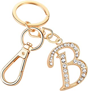 Letter Keychain for Women Cute Bag Charms Crystal Alphabet Initial Pendant with Key Ring