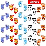 40 Pairs Animals Floor Stickers Cartoon Footprint Floor Decals for Kids Social Distance Cute Animals Guide Self-Adhesive Floor Stickers for Room Party Nursery Floor Stairs, 5 Styles