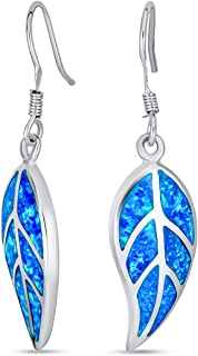 Red Brown Blue Created Opal Inlay Leverback Nature Leaf Dangle Drop Earrings For Women 925 Sterling Silver fish Hook